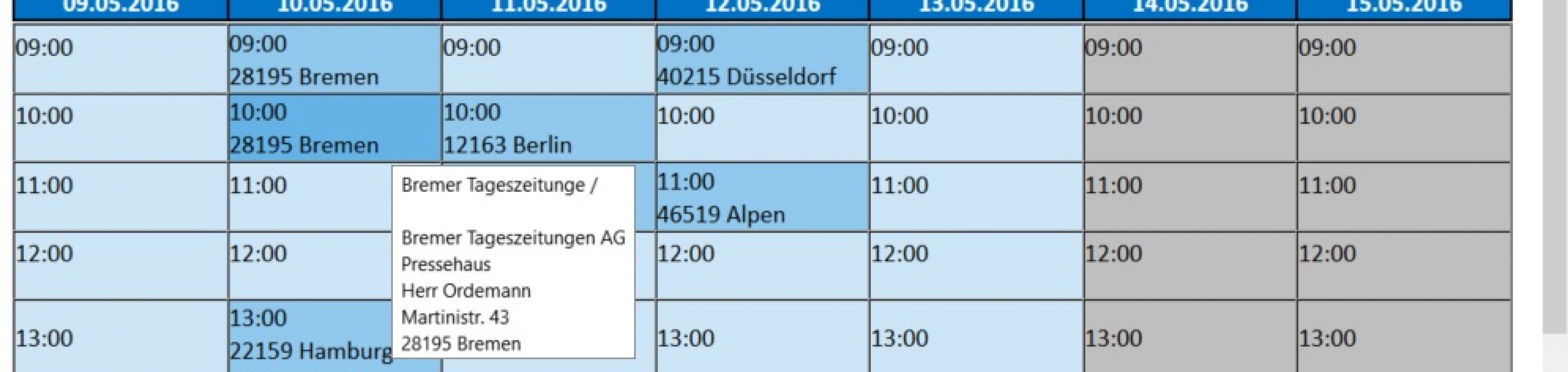 AG-VIP SQL: Online Kalender für Aussendienst Mitarbeiter für die telefonische Terminvereinbarung