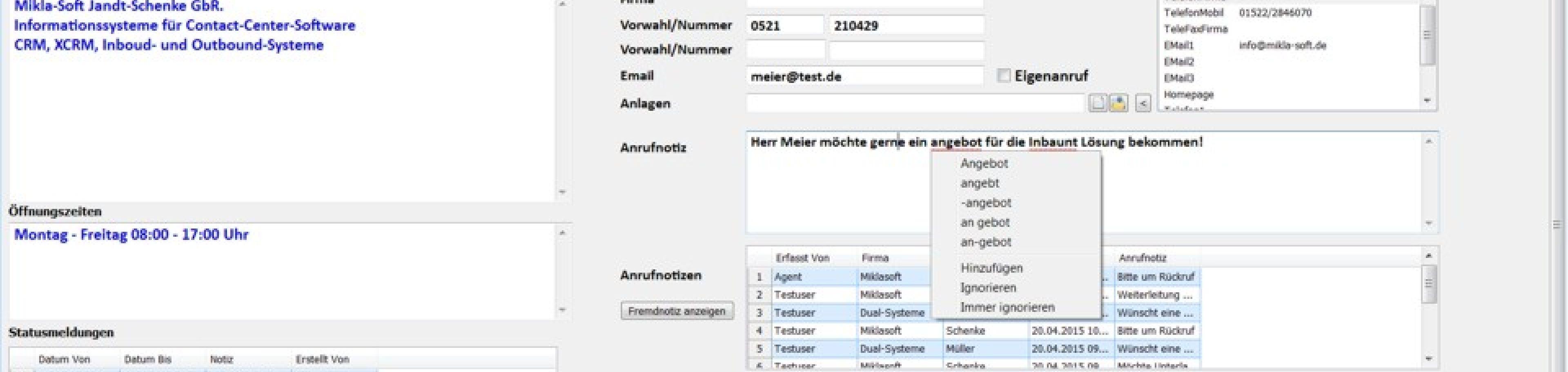 Büroservice Software: Anrufannahme