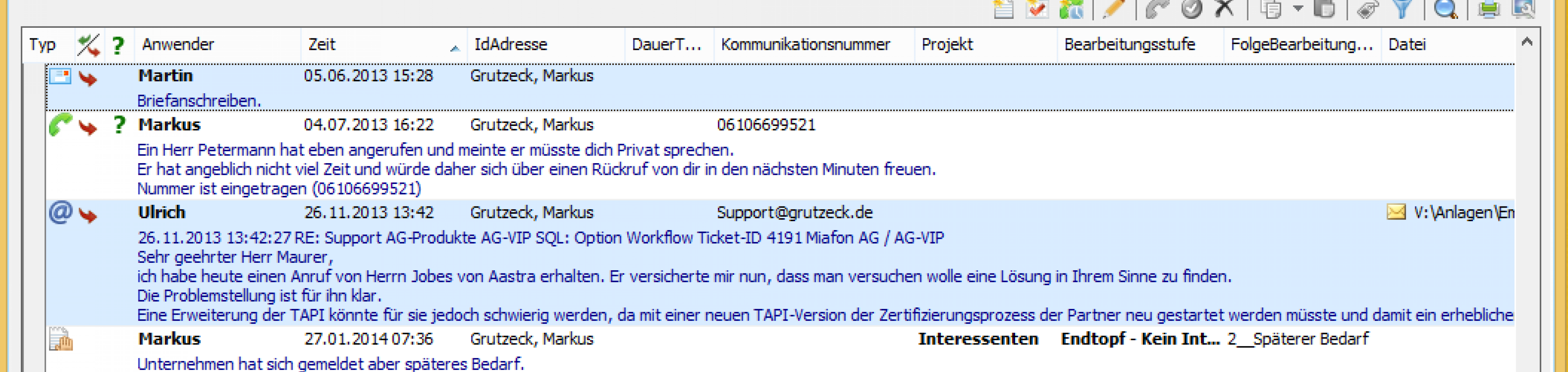 CRM Software AG-VIP SQL - Kontakthistorie
