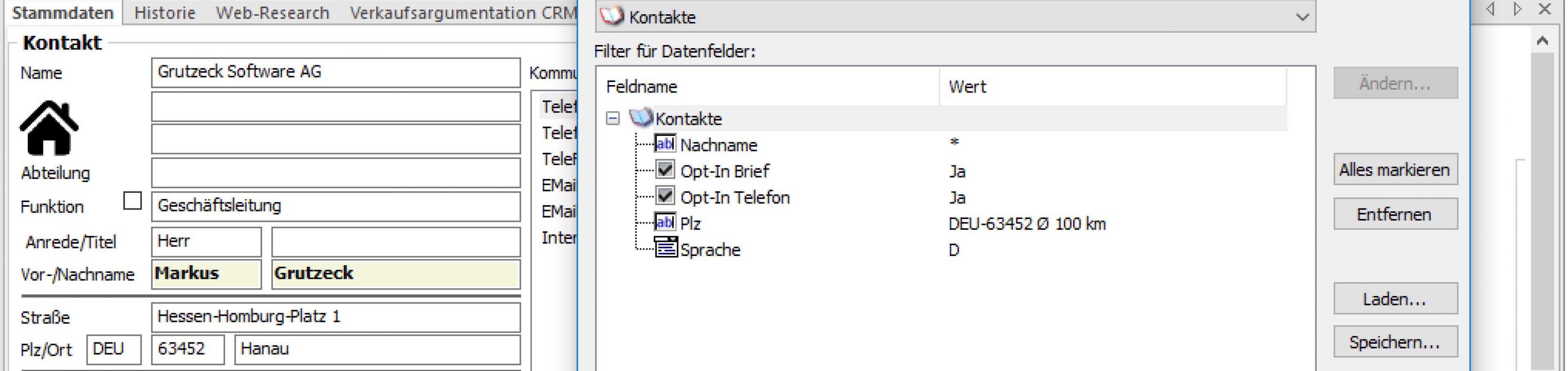 CRM Software AG-VIP: freie Filtermöglichkeiten für Zielgruppenbildung