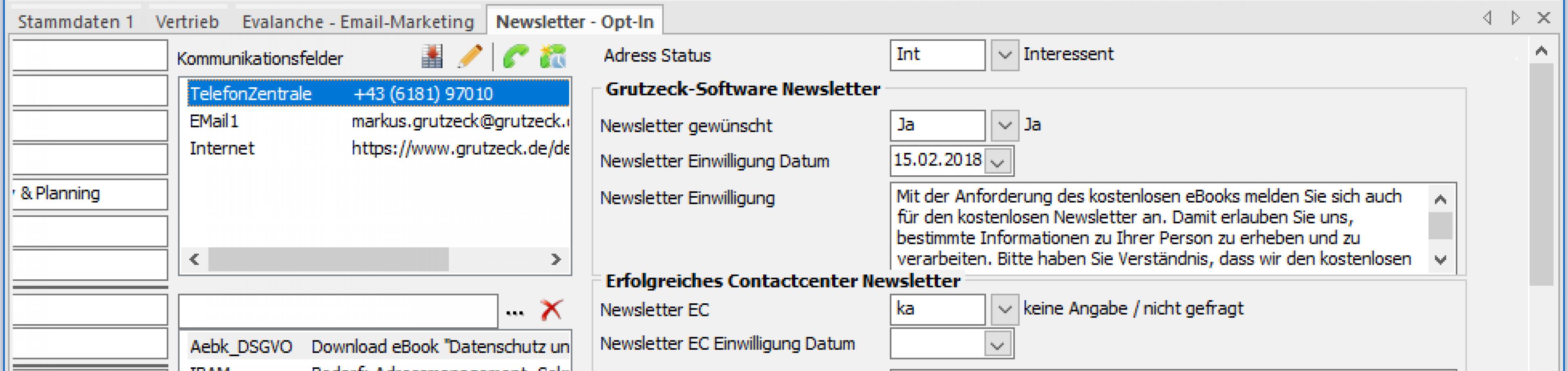 Newsletter Steuerung und Opt-In Verwaltung in CRM Software AG-VIP