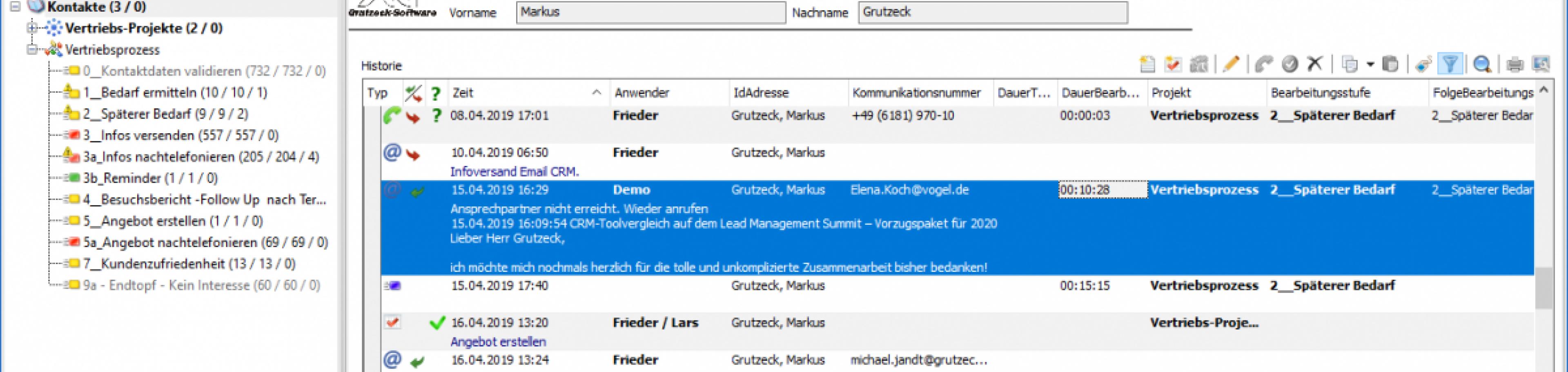CRM Software AG-VIP - Kontakthistorie