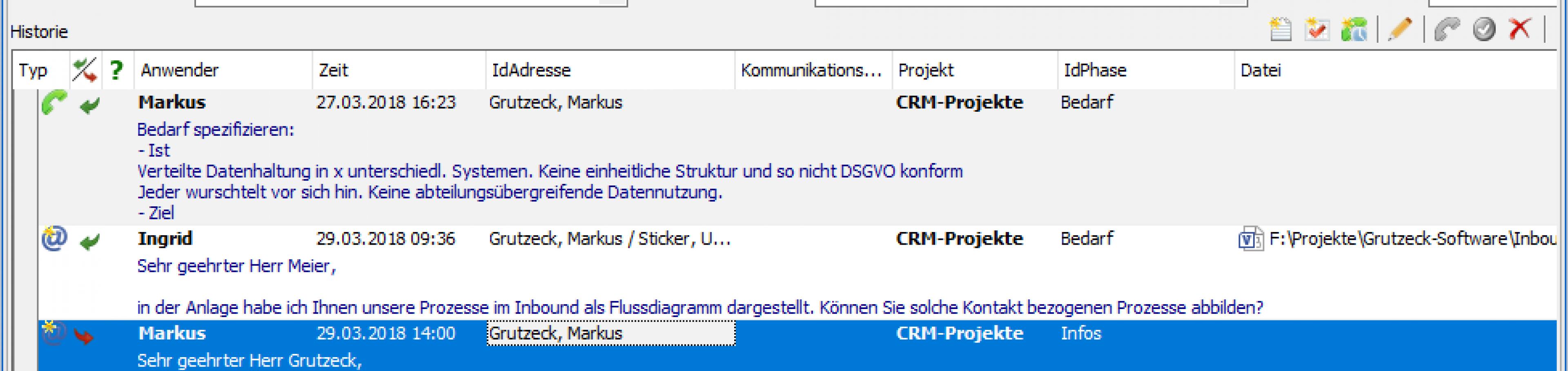 vorgangsbezogenen Kontakthistorie - wissen was projektspezifisch gelaufen ist