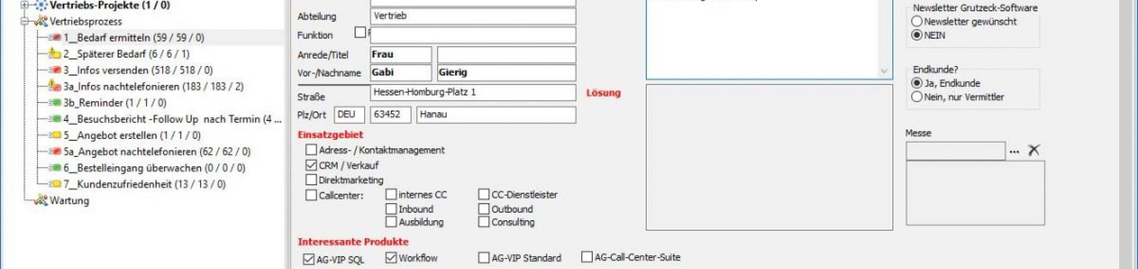 CRM Software AG-VIP - Option Workflow: Bearbeitung Vorgang im Vertriebsprozess