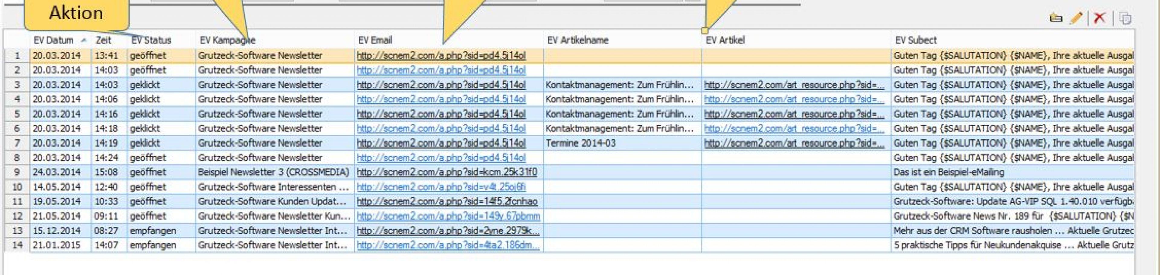 Email Marketing Ergebnisse direkt in CRM Software AG-VIP SQL
