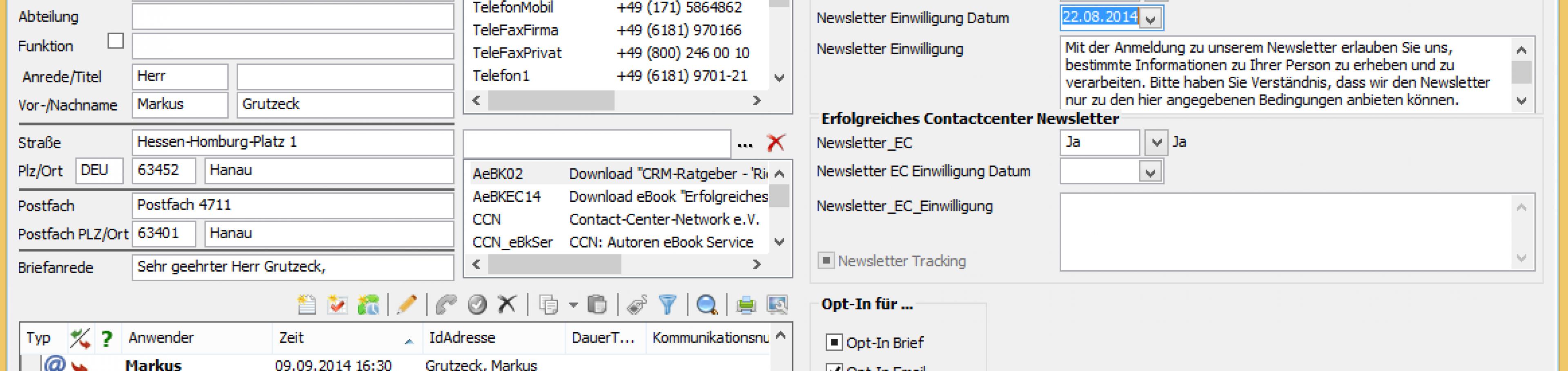 Newsletter Steuerung und Opt-In Verwaltung in CRM Software AG-VIP SQL