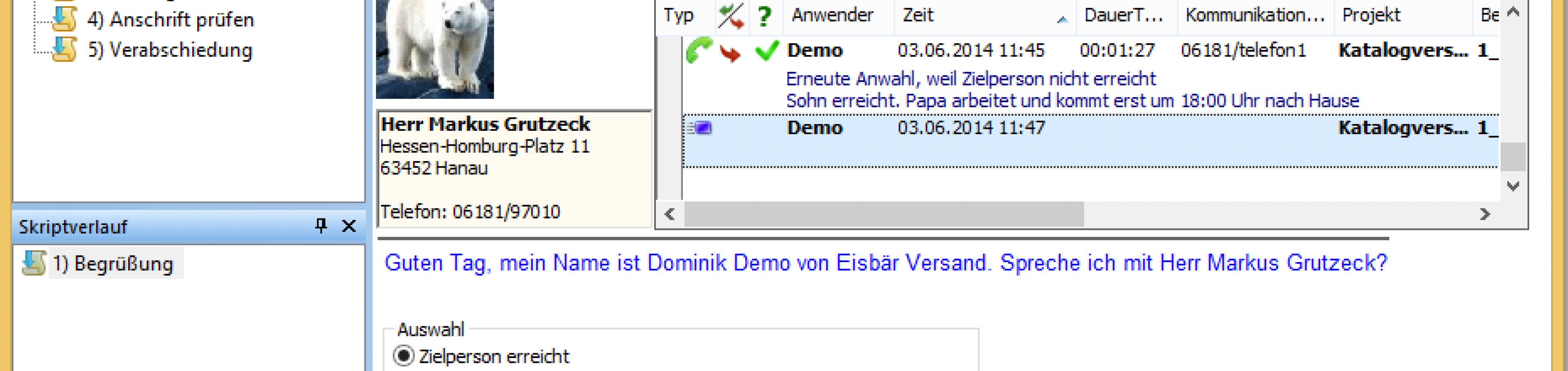 Interaktiver Gesprächsleitfaden in Callcenter Software AG-VIP SQL