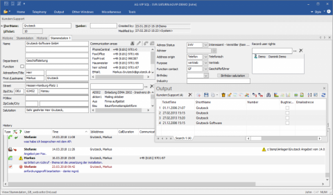 CRM Software AG-VIP - contact history