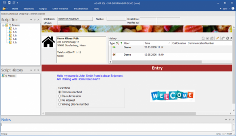 Callcenter: Outbound Software AG-VIP - interactive script