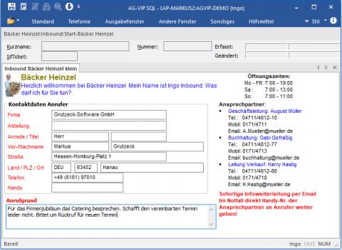 Inbound Software AG-VIP: Ansicht