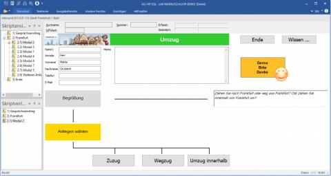 HelpDesk Software AG-VIP: exemplarische Oberfläche - von Ihnen selbst via Drag & Drop frei gestaltbar ...