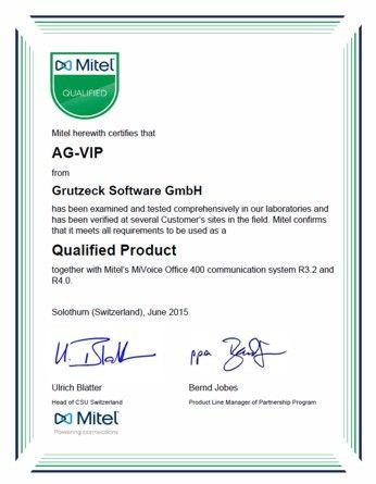 CRM und Callcenter Software AG-VIP SQL für MiOffice 400 von Mitel zertifiziert